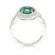 .61ct Diamond and Emerald 18k White Gold Ring