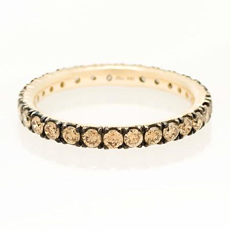 Diamond 18k Yellow Gold & Black Rhodium Eternity Wedding Band Ring