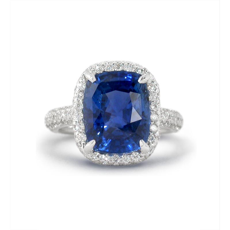 agta certified blue sapphire platinum ring