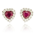 .11ct Diamond and Ruby 18k White Gold Heart Earrings