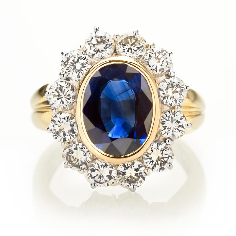 Diamond and Blue Sapphire 18k Yellow ...