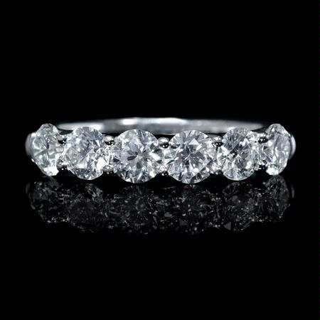 Diamond 18k White Gold Six Stone Wedding Band Ring