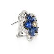 .21ct Diamond and Blue Sapphire 18k White Gold Cluster Earrings