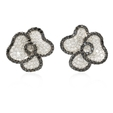 4.31ct Diamond 18k White Gold Cluster Earrings