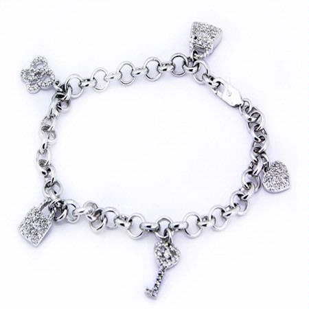Diamond 18k White Gold Charm Bracelet