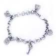 .65ct Diamond 18k White Gold Charm Bracelet