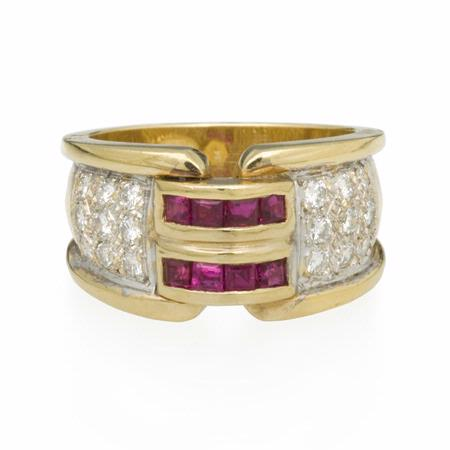 Diamond and Ruby 14k Two Tone Gold Ring