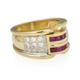 .54ct Diamond and Ruby 14k Two Tone Gold Ring