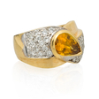.61ct Diamond and Orange Sapphire 14k Two Tone Gold Ring