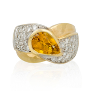 Diamond and Orange Sapphire 14k Two Tone Gold Ring