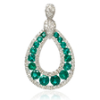 .59ct Diamond and Emerald 18k White Gold Pendant
