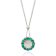 1.33ct Diamond and Emerald 18k White Gold Pendant Necklace