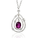 Diamond and Ruby 18k White Gold Pendant Necklace