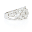 1.47ct Diamond 18k White Gold Cluster Wave Ring
