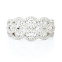 Diamond 18k White Gold Cluster Wave Ring