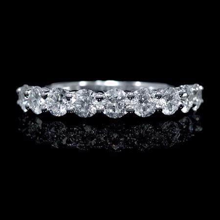 Diamond Round Brilliant Cut Shared Prong Platinum Wedding Band Ring