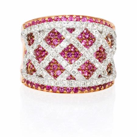 Diamond and Pink Sapphire 18k Two Tone Gold Ring