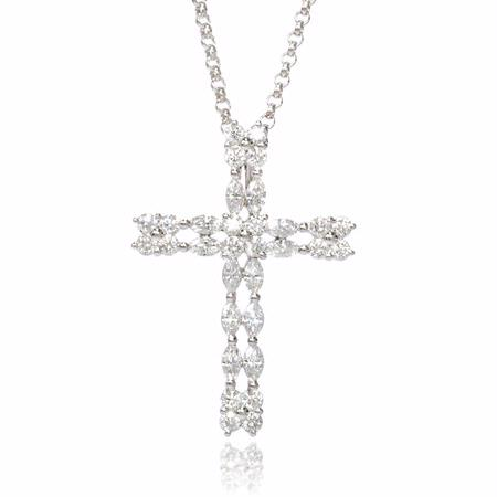 Diamond 18k White Gold Cross Pendant Necklace