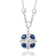 .92ct Diamond and Blue Sapphire 18k White Gold Pendant Necklace