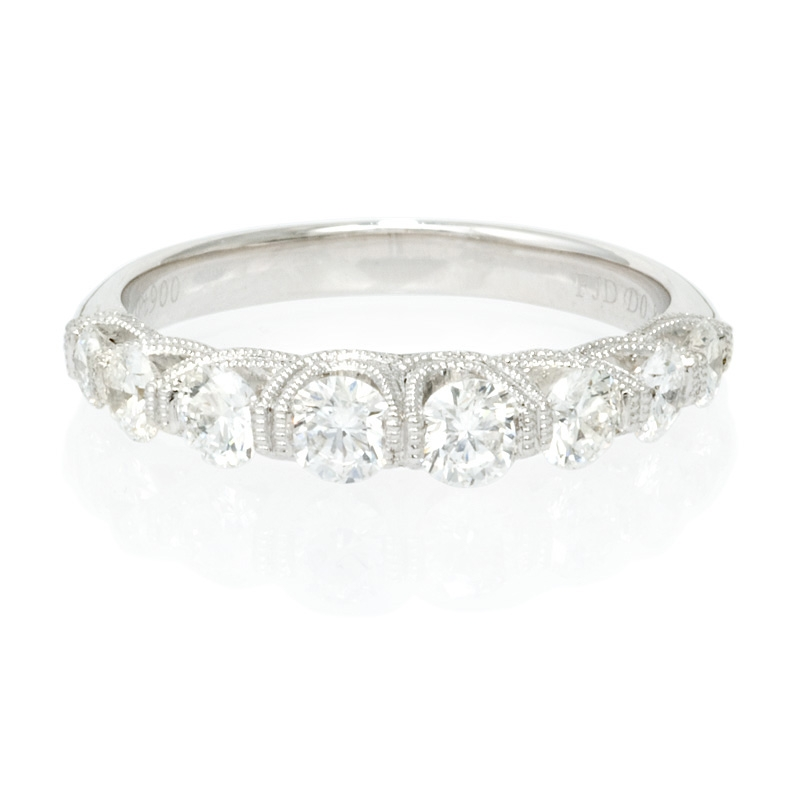 80ct antique style platinum wedding band ring