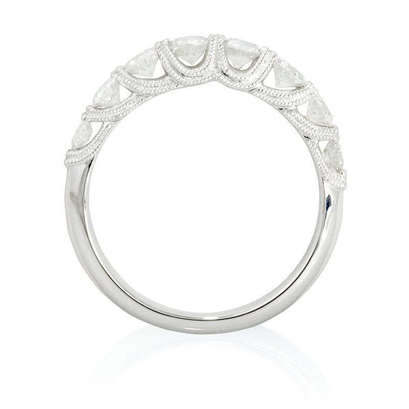 80ct Diamond Antique Style Platinum Wedding Band Ring