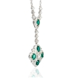 1.02ct Diamond and Emerald 18k White Gold Pendant Necklace