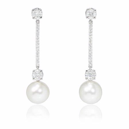 Diamond and Pearl 18k White Gold Dangle Earrings