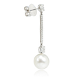 .79ct Diamond and Pearl 18k White Gold Dangle Earrings