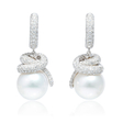 3.07ct Diamond and South Sea Pearl 18k White Gold Dangle Earrings