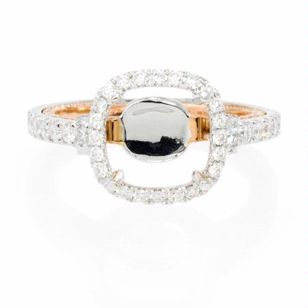 Diamond 18k Two Tone Gold Halo Engagement Ring Setting