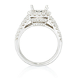 1.16ct Diamond 18k White Gold Halo Engagement Ring Setting
