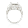 1.54ct Diamond Antique Style 18k White Gold Halo Engagement Ring Setting