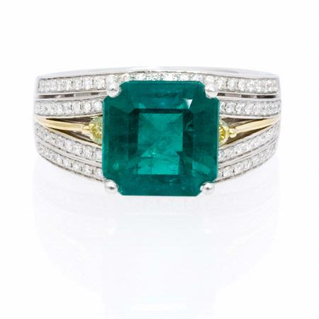 Simon G Diamond and Emerald 18k Two Tone Gold Ring