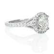 .61ct Diamond Antique Style 18k White Gold Oval Halo Engagement Ring Setting