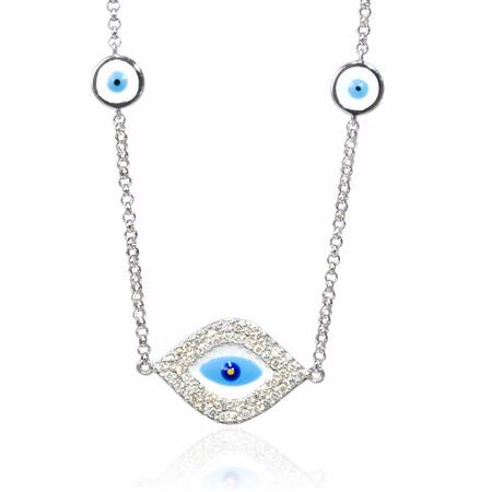 Diamond 14k White Gold and Blue Enamel Necklace