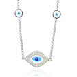 .34ct Diamond 14k White Gold and Blue Enamel Necklace