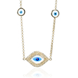 .34ct Diamond 14k Yellow Gold and Blue Enamel Necklace