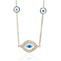 Diamond 14k Yellow Gold and Blue Enamel Necklace