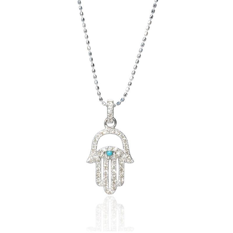 22ct diamond and turquoise 14k white gold hamsa hand of god pendant 22ct diamond and turquoise 14k white gold hamsa hand of god pendant aloadofball Choice Image