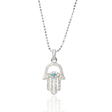 .22ct Diamond and Turquoise 14k White Gold Hamsa Hand of God Pendant