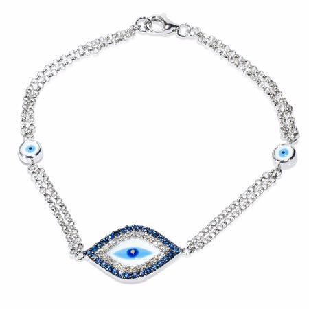 Diamond and Blue Sapphire 14k White Gold and Blue Enamel Bracelet
