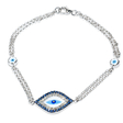.15ct Diamond and Blue Sapphire 14k White Gold and Blue Enamel Bracelet