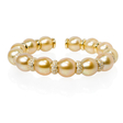 2.15ct Diamond and Pearl 18k Yellow Gold Bangle Bracelet