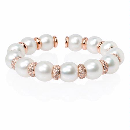 Diamond and Pearl 18k Rose Gold Bangle Bracelet