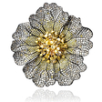 18.41ct Diamond and Fancy Multi Colored Stones 18k Two Tone Gold and Black Rhodium Brooch Pin