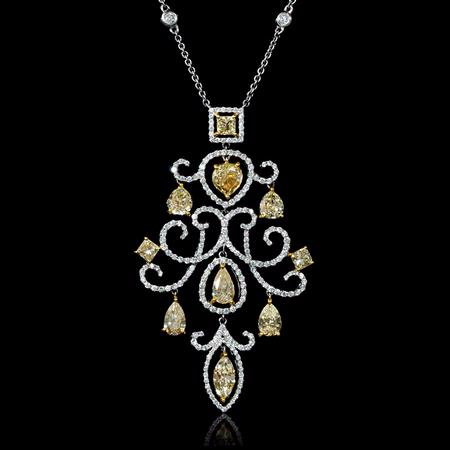 Diamond 18k Two Tone Gold Pendant Necklace