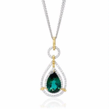Simon G Diamond and Green Tourmaline 18k Two Tone Gold Pendant Necklace