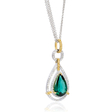 .56ct Simon G Diamond and Green Tourmaline 18k Two Tone Gold Pendant Necklace