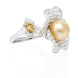 3.09ct Diamond and Pearl 18k White Gold Ring