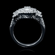 1.37ct Diamond 18k White Gold Emerald Cut Double Halo Ring